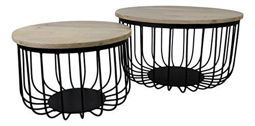 HSM Collection salontafel gemaakt van 2, hout, natuurlijk top/zwart metaal, 60 x 60 x 33 cm