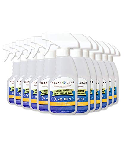 Clear Gear - Disinfectant, Cleaner, and Deodorizer For First Responders, Hospitals, Medical Offices, and Healthcare Providers - (12 Count) 8 oz. Bottles