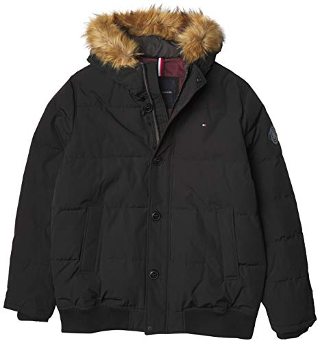 Tommy Hilfiger Men's Arctic Cloth Full Length Quilted Snorkel Jacket (Regular and Big and Tall Sizes), Black, L
