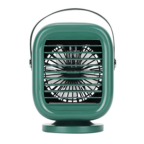 Rotatable Water-Cooled Fan Portable Desk Air Conditioner Fan, 2000mAh Portable Desktop Fan for Outdoor, office (Green)