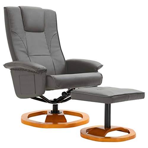 vidaXL Sillón Giratorio para TV con Reposapiés Cuero Artificial Sofás Sala de Estar Salón Comedor Relajante Relax Muebles Mobiliario Bricolaje Gris