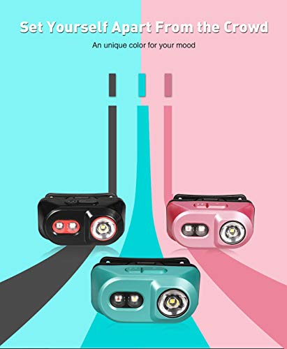 klarus H1A - Linterna Frontal Recargable de 350 lúmenes - CREE XP-L V6 LED - Batería incluida (Rosa)
