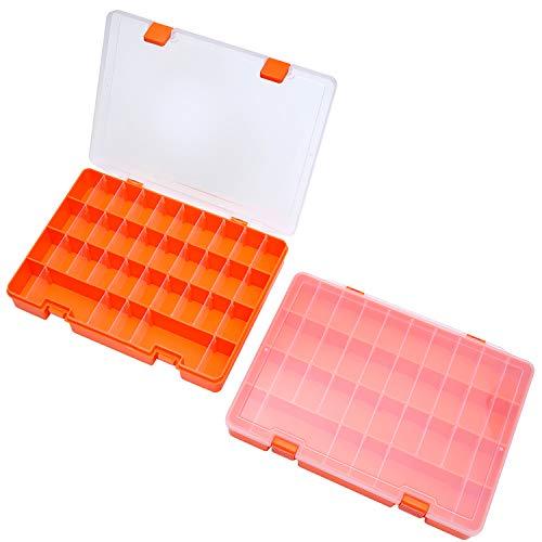 SOMELINE Sortimentsboxen PP Sortimentskasten stabile Sortierbox mit Fester Fachaufteilung Einstellbar Schmuckkasten für Schmuck Kleinteile 2 Stück Orange