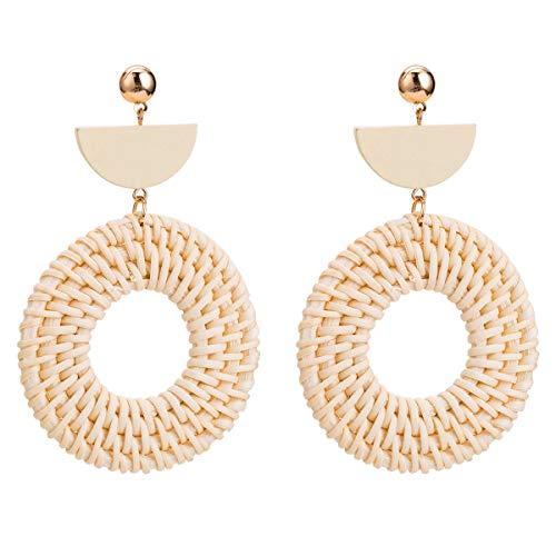 Rattan-Ohrringe für Frauen Handgemachte Stroh Wicker Flechten Fallen Baumeln Ohrringe Leicht Geometrisch Boho Ohrringe Quadrat