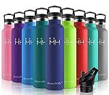 HoneyHolly Botella de Agua Acero Inoxidable sin BPA 1000ml/Azul Oscuro, Aislamiento de Vacío de Doble Pared, Botellas Frío/Caliente, Reutilizable para Niños, Colegio, Sport, Gimnasio, Bicicleta