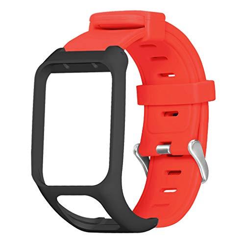 CUCUDAI Pulseira de silicone para relógio Qianqian56 macia antiarranhões para Runner3/Adventurer/Golfer 2/Spark 3 Cardio Music Watch Acessórios - Vermelho