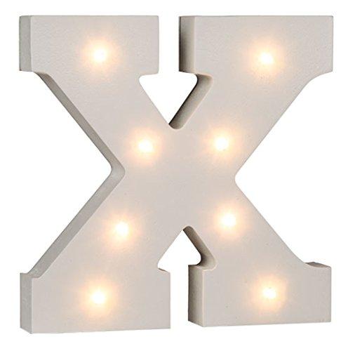Verlichte letters en cijfers van wit hout, het complete alfabet, 16 cm