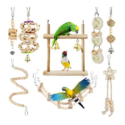 Cuasting Juego de 8 piezas de juguetes para masticar loros de madera natural para escalada de pájaros juguetes adecuados para pequeños periquitos cacatúas conures