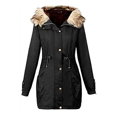 Pocciol Women's Hooded Warm Winter Faux Fur Lined Parkas Long Coats