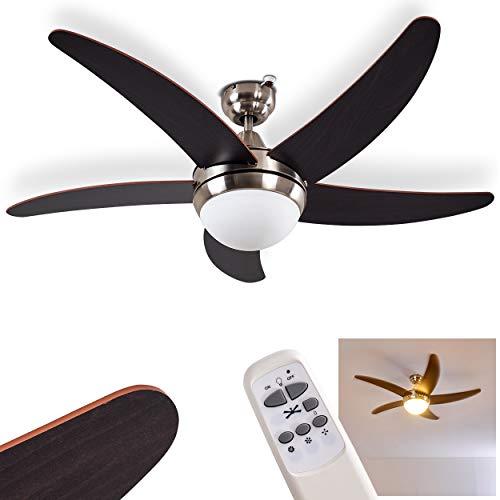 plafondventilator Morino van metaal/hout/glas in nikkel mat/bruin, plafondlamp met ventilator incl. afstandsbediening schakelbaar in 3 stappen, Ø 120 cm, geschikt voor zomer en winter (boven- en benedenwinds)