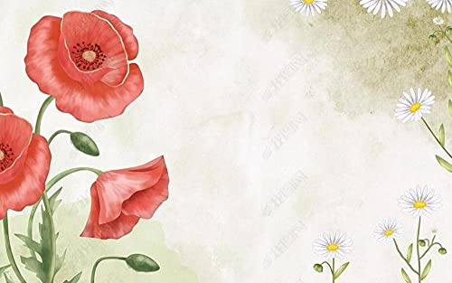 Papel Pintado Pared Flores Amapolas Marca LIWALLPAPER
