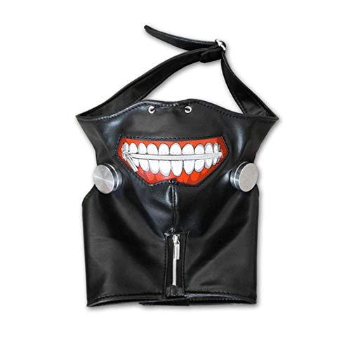 Nieuwe Ken Kaneki Tokyo Ghoul Mask Party Cosplay Cosplay Prop Mascara PU-leer verstelbaar met rits Japanse anime, zwart masker