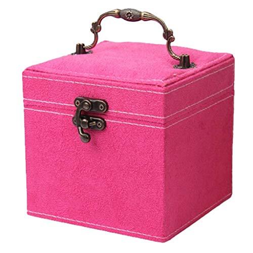 joyMerit Joyero Organizador con Cierre Completo para Niñas, Collar, Pendientes, Anillo, Gran Opción de Regalo - Rosa Roja, tal como se describe
