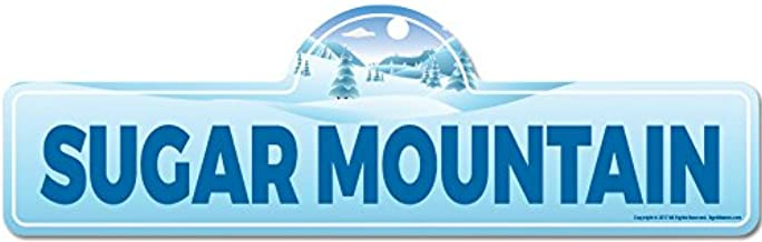 Sugar Mountain Street Sign | Indoor/Outdoor | Skiing, Skier, Snowboarder, Décor for Ski Lodge, Cabin, Mountian House | SignMission Personalized Gift
