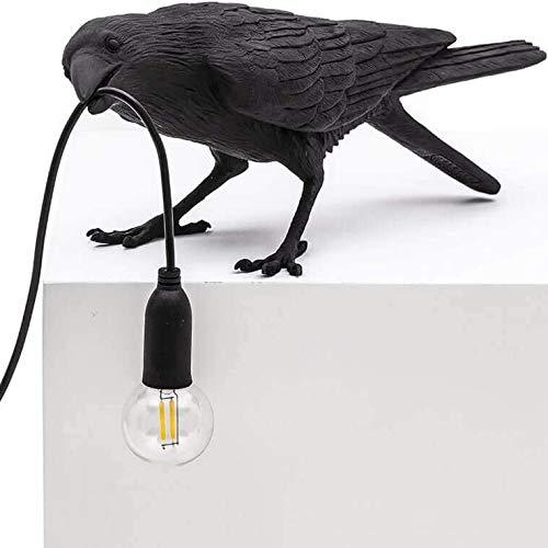 Creative Lamps Italienische Vogel-Tischlampe, moderne LED-Tischleuchte, Wandleuchte, Krähe Vogel Standlicht, Heimdekoration, Schwarz