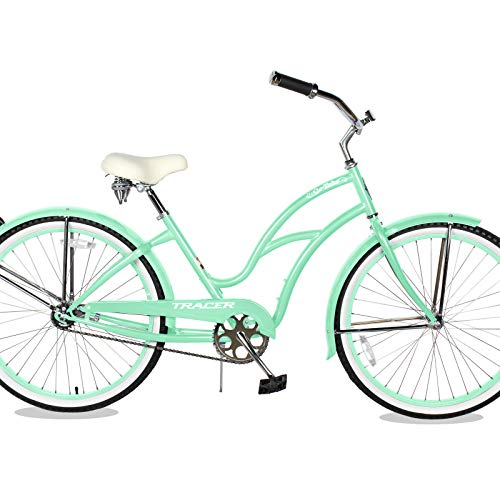 TRACER TAHA 26'' Cruiser Beach Bike for Women/Youth/Adult, 26-inch Wheels, Hi-Ten Steel Frame, Soft Tower Cruiser Seat Hybrid Bicycle, Multiple Colors… (26' - Mint Green)
