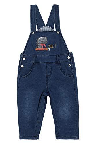Camilife Baby Jungen Mädchen Denim Latzhose Strampler Overall Schlitzhose Weich Baumwolle Gestrickte Jeans Hose mit Hosenträger - Krokodil und LKW Größe 86/92
