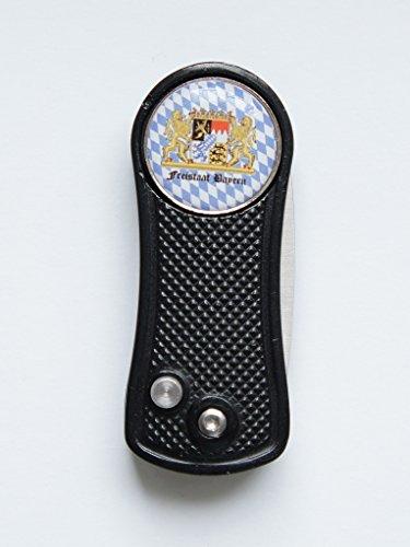 RoLoGOLF Pitchgabel Alu aufklappbar, schwarz, mit Golfball Marker FREISTAAT Bayern