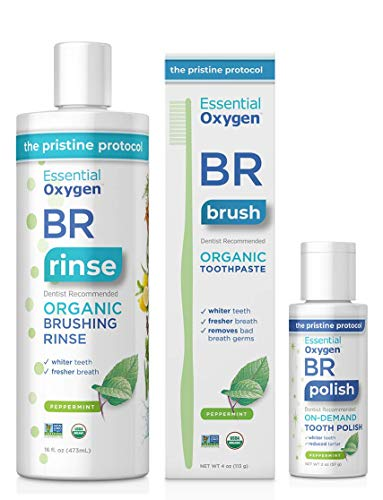 Essential Oxygen Pristine Protocol A 3-Step System (1. Rinse 2. Brush 3. Polish) for Your Best Smile Ever, 3 Count, Combo Pack