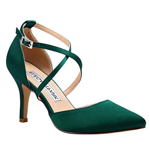 Duosheng & Elegant HC1901 Women Pointed Toe High Heel Court Shoes Cross Strap Satin Wedding Party Bridal Shoes
