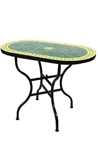ORIGINAL Marokkanischer Mosaiktisch Gartentisch 100x60cm Groß eckig klappbar | Eckiger klappbarer Mosaik Esstisch Mediterran | als Klapptisch für Balkon oder Garten | Bilbao Grün Gelb 100x60cm
