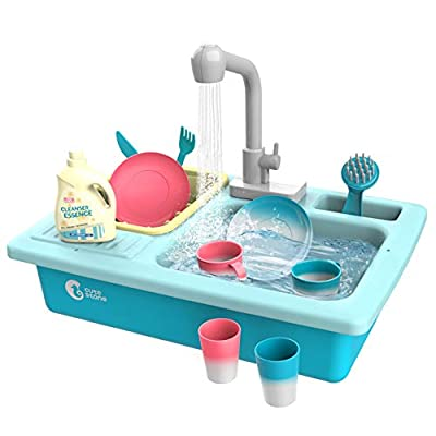CUTE STONE Color Changing Kitchen Sink Toys, Children Heat Sensitive Electric Dishwasher Playing Toy with Running Water, Automatic Water Cycle System Play House Pretend Role Play Toys for Boys Girls by Cute Stone