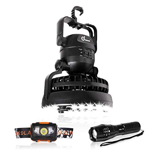 Odoland 2-in-1 Portable LED Camping Lantern with Ceiling Fan - LED Flashlight and Headlamp - Perfect for Outdoor Hiking Fishing Camping and Hurricane Emergency Kit