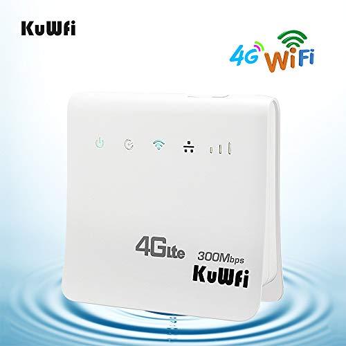 KuWFi WLAN-router, ontgrendeld 300 Mbps 4G LTE CPE Mobile WiFi Wireless Router voor SIM-kaartsleuf met LAN-poort ondersteuning werken met E-Plus/T-Mobile SIM kaart