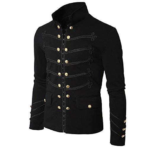 Vintage sólido chaqueta gótica Steampunk Rock Frock uniforme masculino vintage punk disfraz de metal militar abrigo Outwear Negro Negro ( M