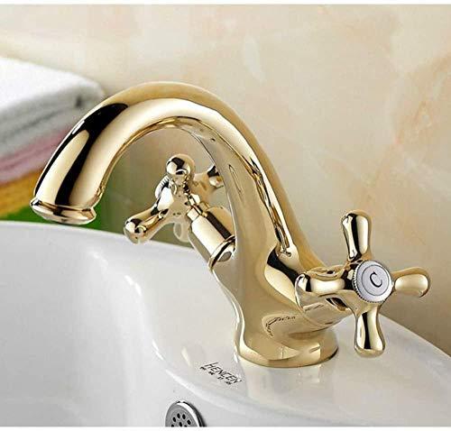 Grifos de latón de color dorado, grifo de baño, lavabo, grifo mezclador, cuello de cisne, montaje en cubierta, manijas cruzadas dobles, orificio único