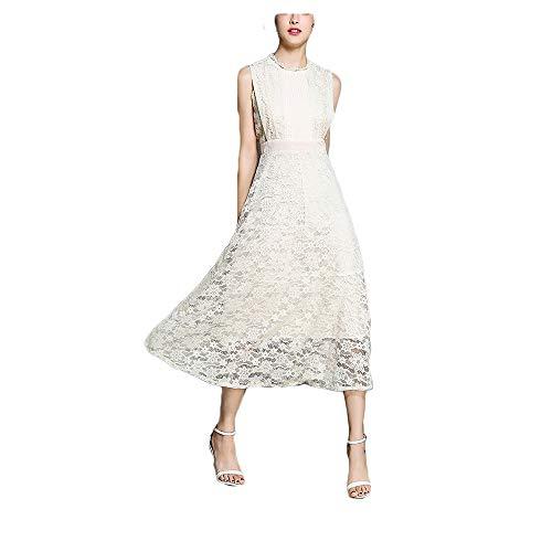 Dames vintage geblokte kanten jurk vrouwelijke mouwloze plissé Lace Slim A Style Rok vrijetijdskleding