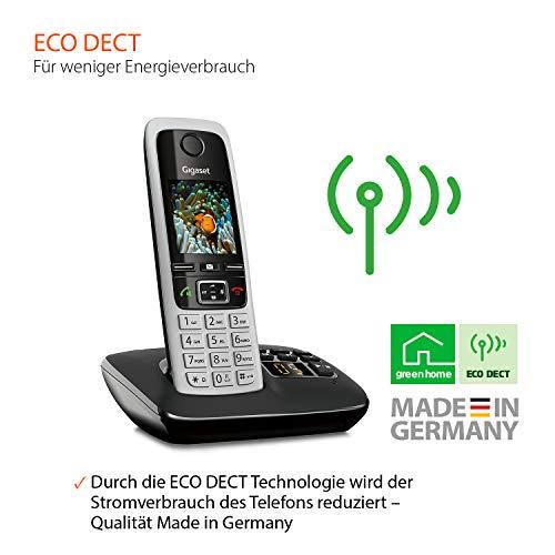 Gigaset C430A Trio Telefon – Schnurlostelefon / 3 Mobilteile – TFT-Farbdisplay / Dect-Telefon – mit Anrufbeantworter / Freisprechfunktion – Analog Telefon – Schwarz - 6
