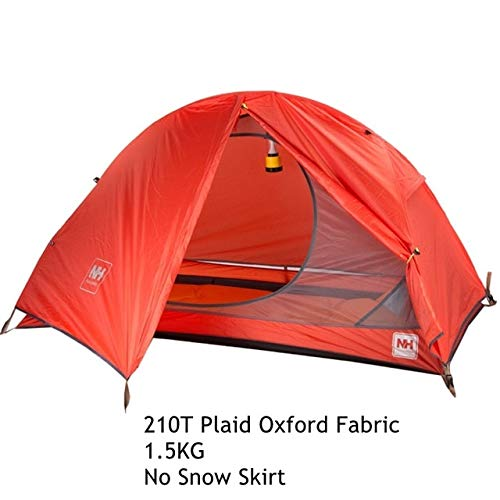 Mdsfe 1.3KG Naturehike Tent 20D Silicone Fabric Ultralight 1 Person Double Layers Aluminum Rod Hiking Tent 4 Season With Camping Mat-Red210T Fabric