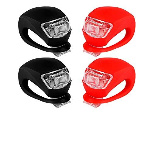 DierCosy 4 Stück Fahrradleuchten Super Frosch Silikon LED Fahrradleuchte Vorne Und Hinten Fahrradleuchte
