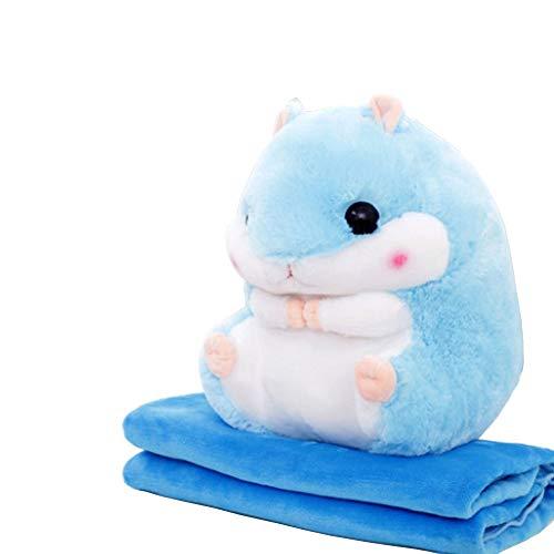 YunNasi 2 in 1 gefüllt Fat Hamster mit Plüsch Kissen und warm Bezug für Decke und Kinder blau