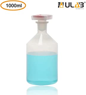 ULAB Narrow Mouth Plastic Reagent Bottle with Square Stopper Set, Vol.1000ml, PP Material, URB1028
