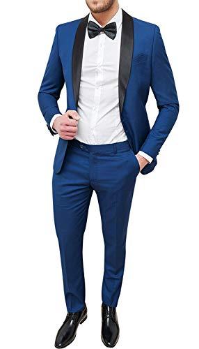 Abito Uomo Sartoriale Blu Chiaro Slim Fit Vestito Smoking Elegante Cerimonia (48)