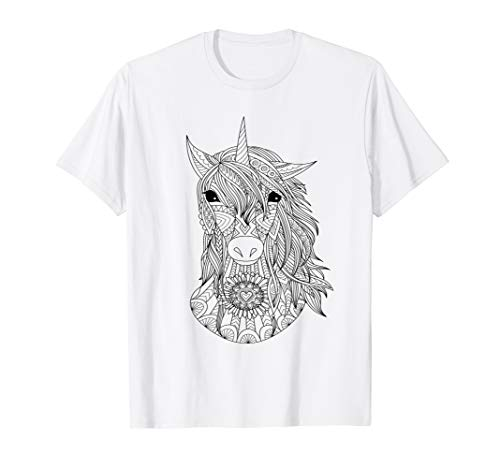 Adult Colouring Book Style Unicorn DIY Coloring T-shirt