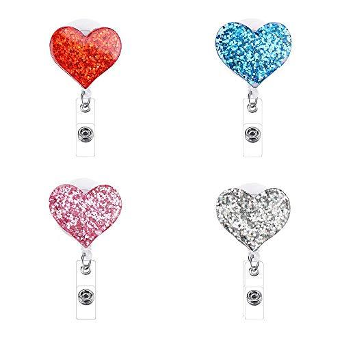 4 Piezas Carrete de la Insignia Retráctil Corazón, con Clip Cocodrilo Soporte de Tarjeta ID para Enfermeras/Voluntarios/Estudiantes/Profesores