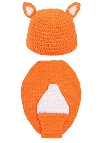 DELEY Unisex Bambino Crochet Volpe Cosplay Costume Neonato Vestiti del Vestito Foto Puntelli 0-6 Mesi