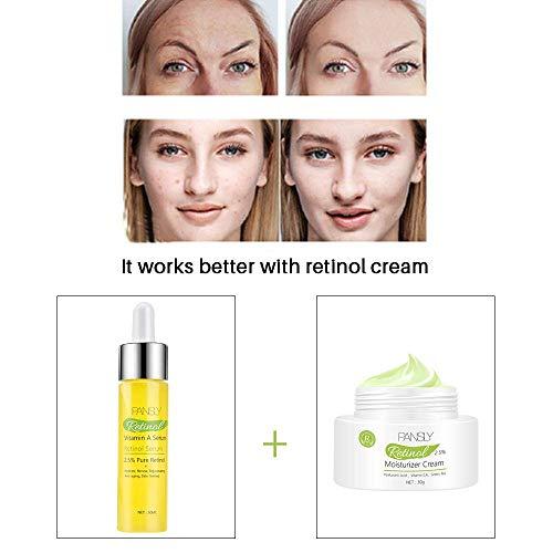 Suero antienvejecimiento de vitamina A - 2.5% de suero de ácido retinol original y ácido hialurónico,para reparación de la piel líneas finas y arrugas (Solución madre de retinol+crema hidratant)