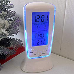 2018 Table Alarm Clock, Ikevan New Digital Backlight LED Display Table Alarm Clock Snooze Thermometer Calendar