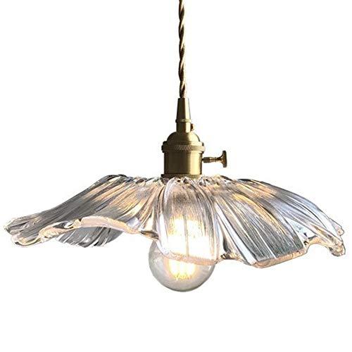 Hobaca E27 Hoja de Loto Vidrio Oro Cobre Moderno nórdico Iluminación colgante Luces Lámpara colgante Cocina Accesorio de iluminación de la isla Lámpara colgante de comedor Sala Lámpara de techo