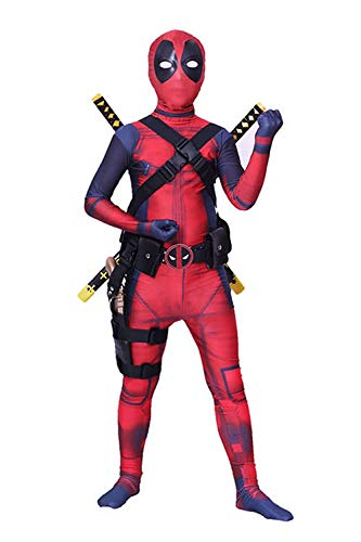 shoperama Deadpool Kostüm für Kinder Teenager Damen und Herren Superhero Superheld Comic Anti-Held Overall Cosplay, Größe:164
