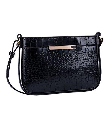 SIX Damen Handtasche, Umhängetasche, Crossbody Bag, Reptilleder Look, Krokoleder Imitat, Verstellbarer Schulterriemen, Gold, schwarz (726-377)