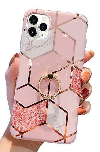 """Qokey Compatible with iPhone 11 Pro Max Case,Marble Cute Fashion for Men Women Girls with 360 Degree Rotating Ring Kickstand Soft TPU Shockproof Cover Designed for iPhone 11 Pro Max 6.5"""" Grid Bling"""