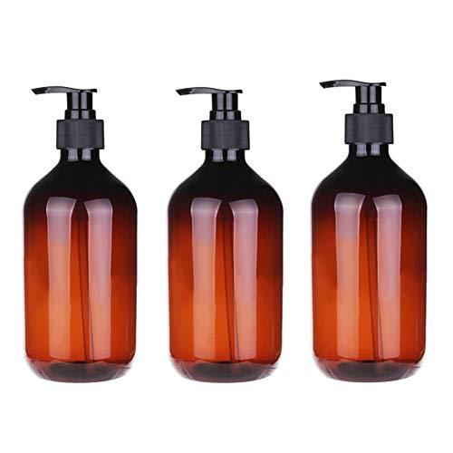 iSpchen 3Pcs 500 ML Bouteille Presse en Plastique Rechargeable Vide Bouteille Presse Pompe Shampooing Lotion Maquillage Distributeur Liquide Récipient