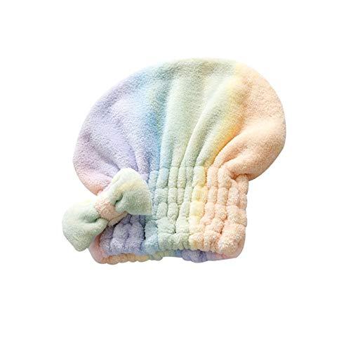 YONGYONGMY Gorros de Ducha Toalla de Cabello seco con Tapa de Ducha Bowknot Súper Absorbente de Secado rápido de Secado rápido Accesorios para baño para Mujeres Coral Velvet (Color : Colorful)