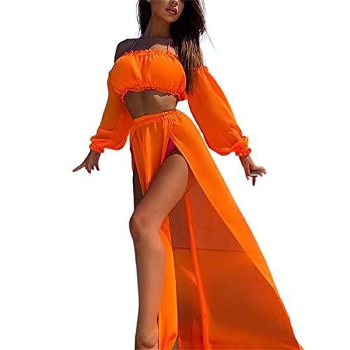 L&ieserram Womens Bikini Cover ups Set di Vestiti 2 Pezzi Sexy Mesh off Spalla Crop Top Camicie + Gonna Lunga Sarong Divisa Vedi Attraverso Abiti Estivi da Spiaggia (Orange, One Size)