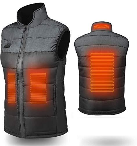 KLAS Remo - Gilet, riscaldante, lavabile, senza maniche, caldo, unisex, per moto, USB, temperatura regolabile, gilet riscaldante elettrico per sport all'aria aperta, sci, campeggio, grigio, L